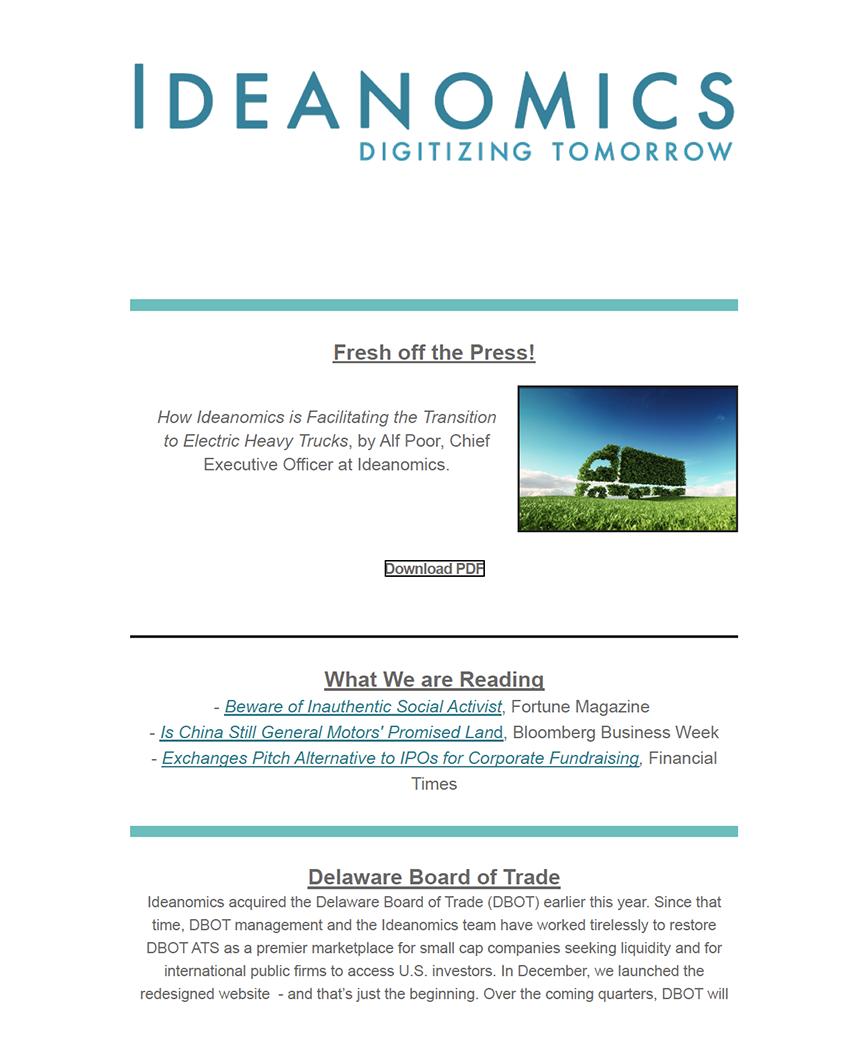 Ideanomics Winter 2019 Newsletter