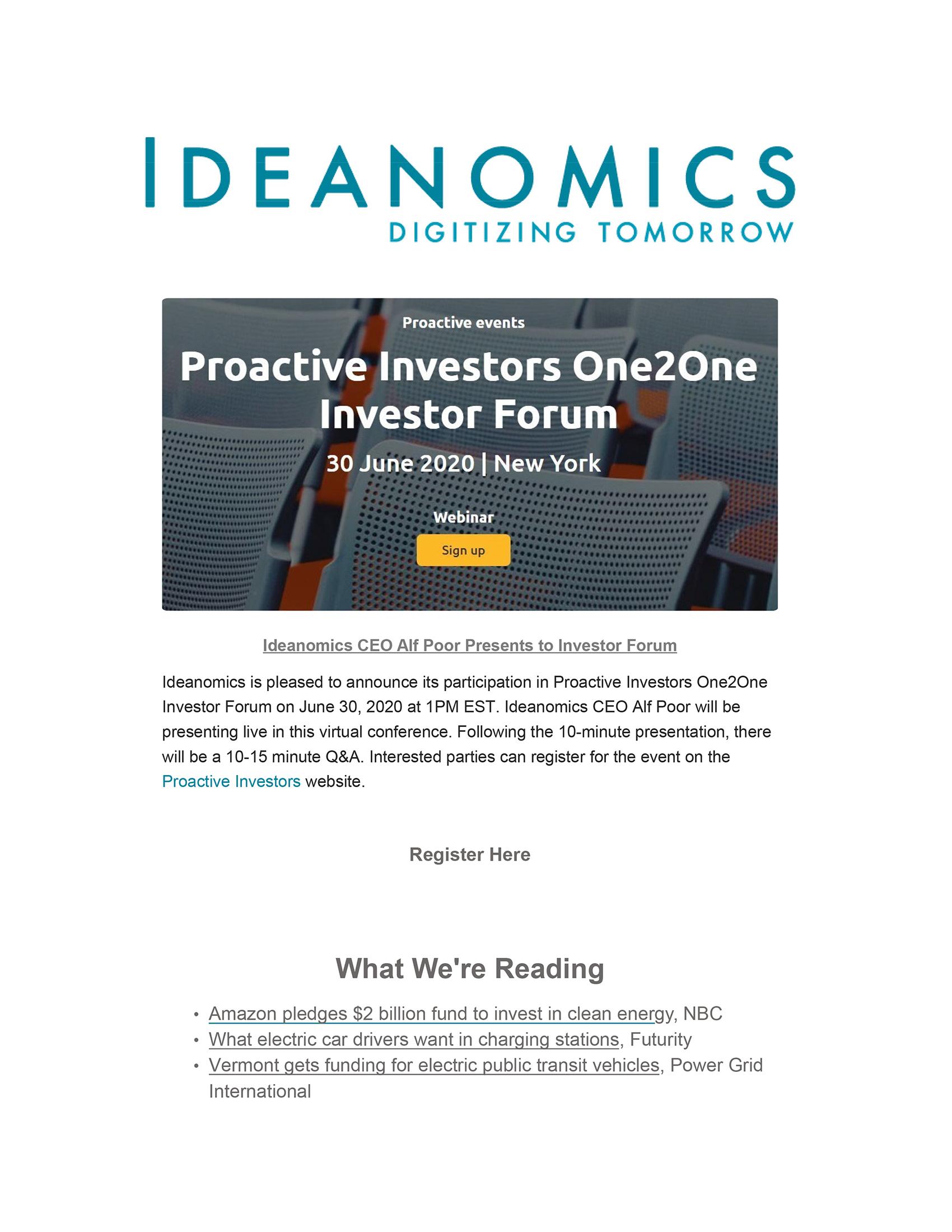 Ideanomics June Newsletter