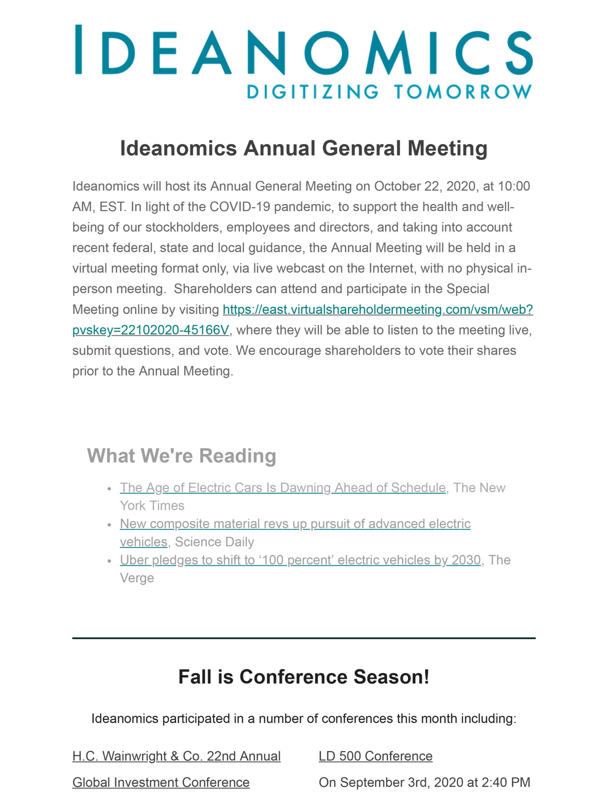 Ideanomics September Newsletter